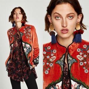 NWT RARE Zara Velvet Embroidered Mandarin Jacket